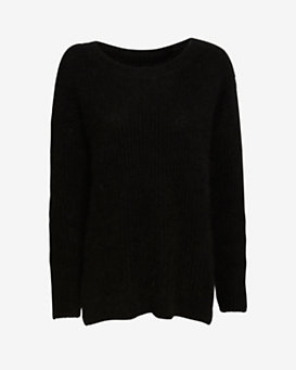 Exclusive for Intermix Oversized Boyfriend Crew Sweater: Black