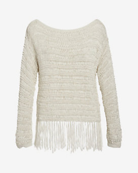 Exclusive for Intermix Celeste Off The Shoulder Fringe Knit
