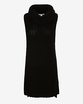 Autumn Cashmere Sleeveless Turtleneck Sweater Dress: Black