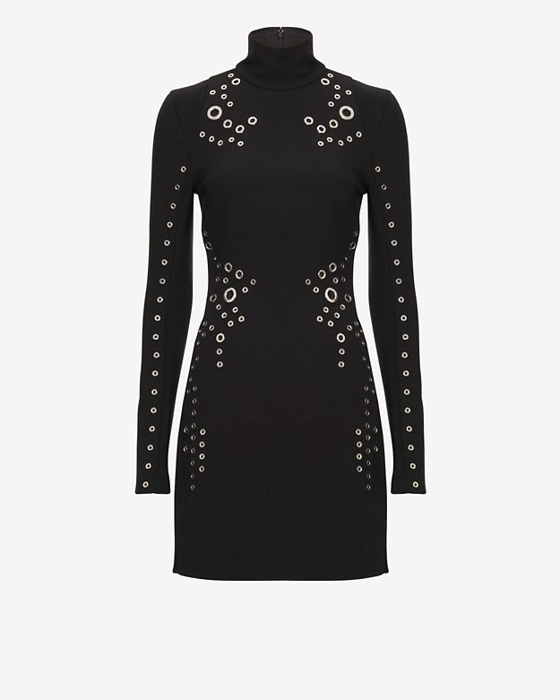 Mugler Grommet Detail Turtleneck Dress: Black
