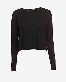 Autumn Cashmere EXCLUSIVE Boxy Crop Cashmere Sweater: Black