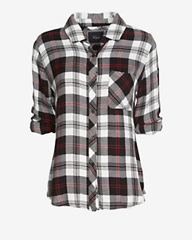 Rails Hunter Plaid Shirt: Black/White/Red