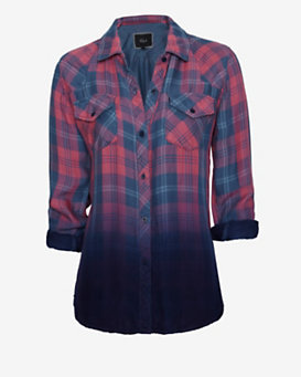 Rails EXCLUSIVE Ombre Plaid Shirt: Red