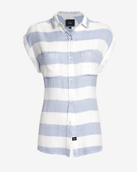 Rails Striped Short Sleeve Button Down