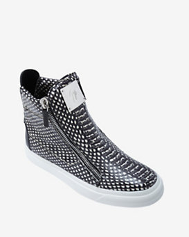 Giuseppe Zanotti EXCLUSIVE Stamped Snake Leather Zipper Sneaker