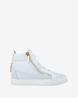 Giuseppe Zanotti Stamped Croc Zipper Detail High Top Sneakers: White