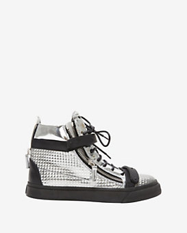 Giuseppe Zanotti Leather High-Top: Silver