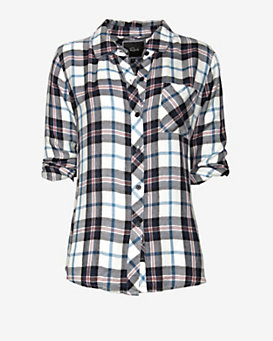 Rails Hunter Plaid Shirt: Blue/White