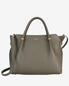 Nina Ricci Marche Medium Double Handle Leather Satchel: Grey