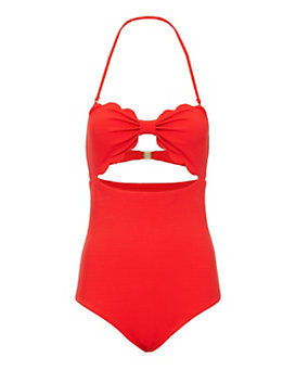 Marysia Antibes Strapless Full Piece Swimsuit: Red