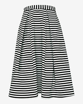 Nicholas Striped Ponte Ball Skirt