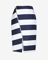 Nicholas EXCLUSIVE Angled Zipper Detail Striped Skirt