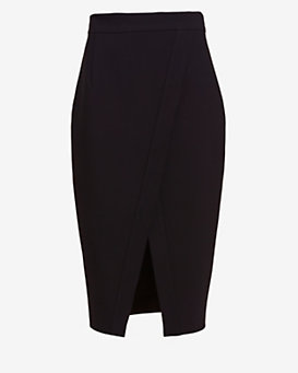 Nicholas Crossover Hem Pencil Skirt