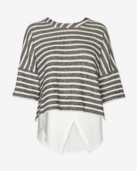 10 Crosby Derek Lam Striped 2 in 1 Combo Sweatshirt