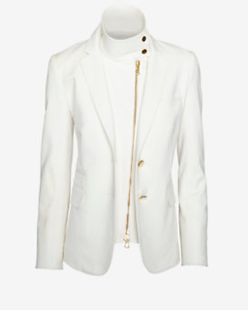 Veronica Beard Zipper Detail Blazer: White