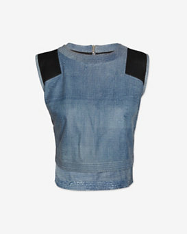 Veronica Beard Mesh Detail Denim Crop Top