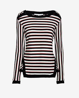 Veronica Beard Striped Snap Button Sweater
