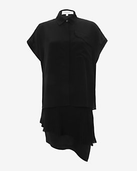 Derek Lam 10 Crosby 2 in 1 Pleated Hem Blouse Dress: Black