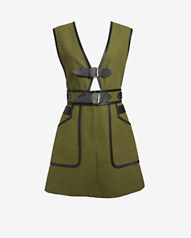 Derek Lam 10 Crosby Buckle Detail Apron Dress: Army