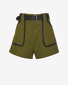 Derek Lam 10 Crosby EXCLUSIVE Leather Detail High Waist Army Shorts