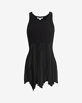 Derek Lam 10 Crosby Pleated Bottom Rib Knit Top: Black