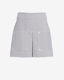 Veronica Beard A-Line Double Patch Pocket Stripe Skirt