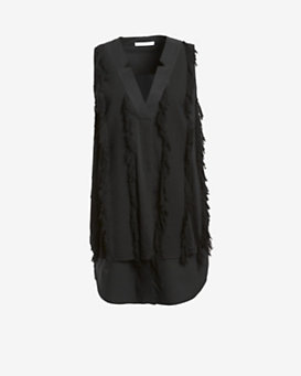 Derek Lam 10 Crosby V Neck Sleeveless Fringe Dress