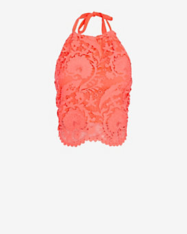 Miguelina EXCLUSIVE Mari Lace Crop Halter Top
