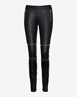 Joseph Zip Leather Leggings: Black