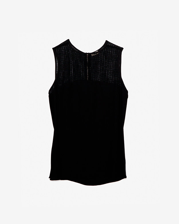 L'Agence EXCLUSIVE Sheer Yoke Panel Sleeveless Blouse