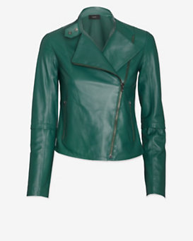 Joseph Leather Moto Jacket: Emerald
