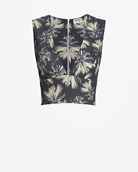 L'Agence EXCLUSIVE Palm Print Crop Top