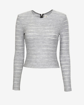 L'Agence EXCLUSIVE Tonal Stripe Wool Crop Top