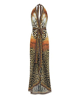 Camilla Animal Print Wrap Maxi Dress