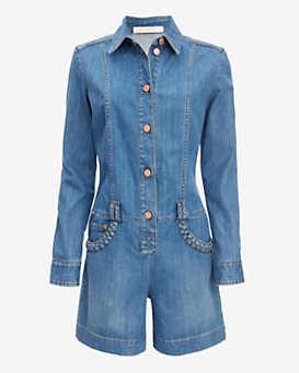 See By Chloe Braided Pocket Denim Romper