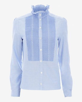 See By Chloe Smocked Pleat Chambray Shirt