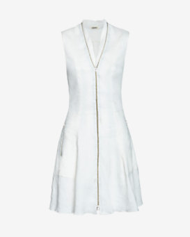 L'Agence EXCLUSIVE Zipper Detail Linen Dress