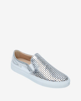 Sebastian Laser Cut Out Slip On Metallic Sneaker