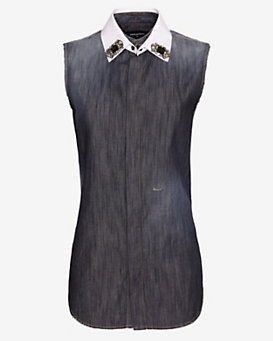 DSQUARED2 Bejeweled Collar Sleeveless Denim Shirt