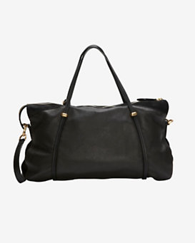 Nina Ricci Ballet Large Cervo Leather Satchel: Black