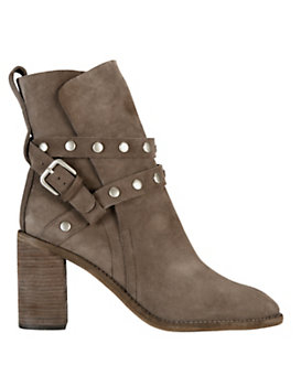 See By Chloe Studded Strap Stack Heel Suede Boot: Grey