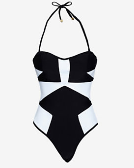 Suboo Colorblock Bustier One Piece Swimsuit