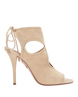 Aquazzura Sexy Thing Cut Out Suede Sandal: Nude