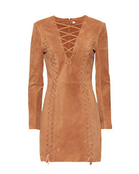 Exclusive for Intermix Isaac Lace Up Suede Dress