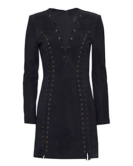 Exclusive for Intermix Isaac Lace Up Suede Dress: Navy