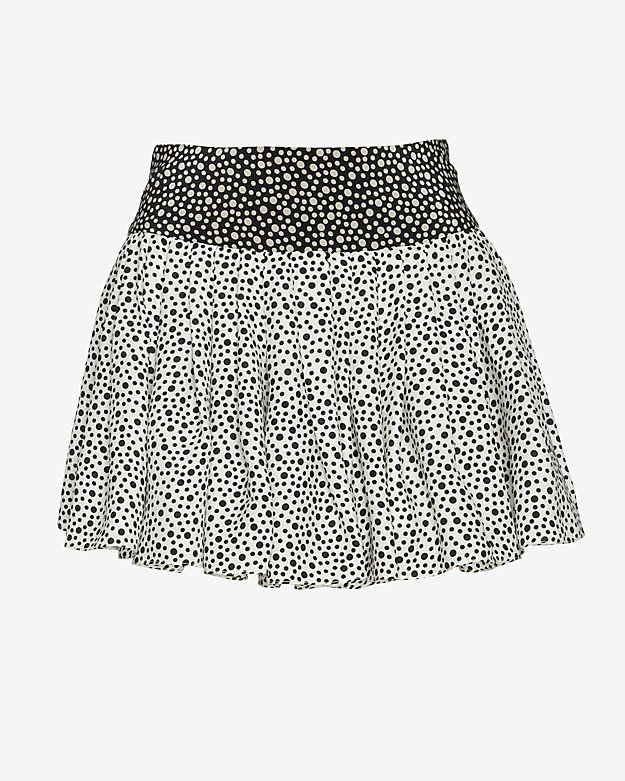 OTTE Flouncy Pleated Polka Dot Print Skirt