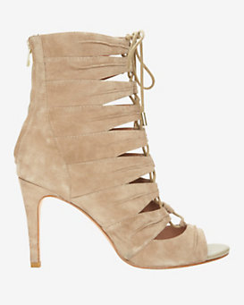 Joie Anja Lace-Up Suede Open Toe Bootie