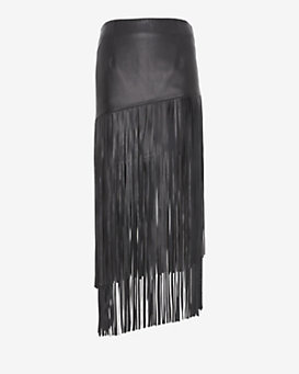 Exclusive for Intermix Leather Fringe Skirt