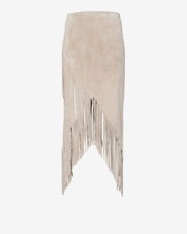 Exclusive for Intermix Asymmetric Suede Fringe Skirt