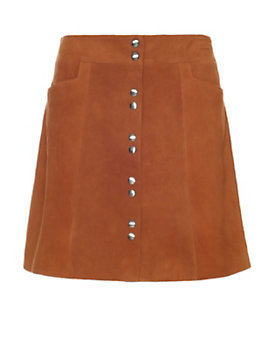 Exclusive for Intermix Goat Suede Snap Mini Skirt